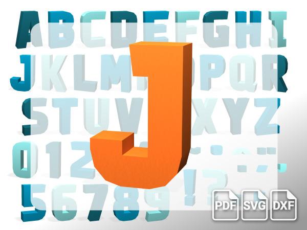 3D Alphabet J